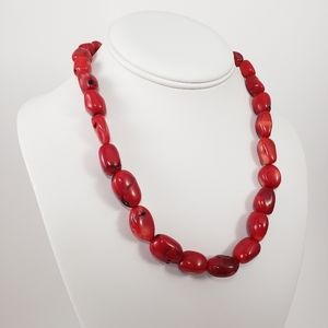 DEEP RED Boho Chunky Branch Coral Necklace